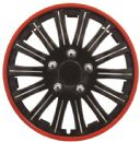 "15"" Gloss Black & Red Wheel Trims"